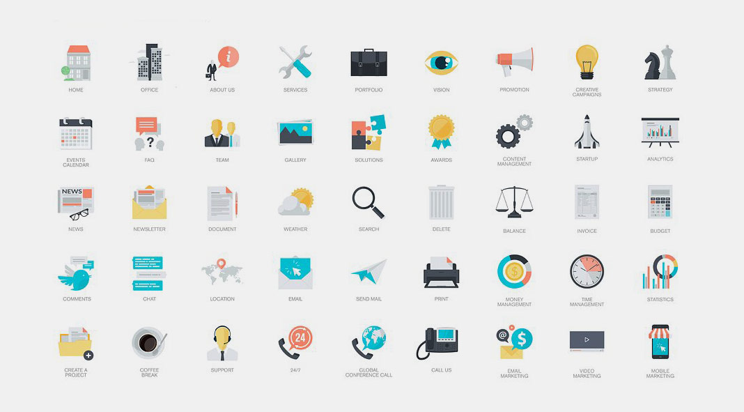 270 flat icons from pure solution