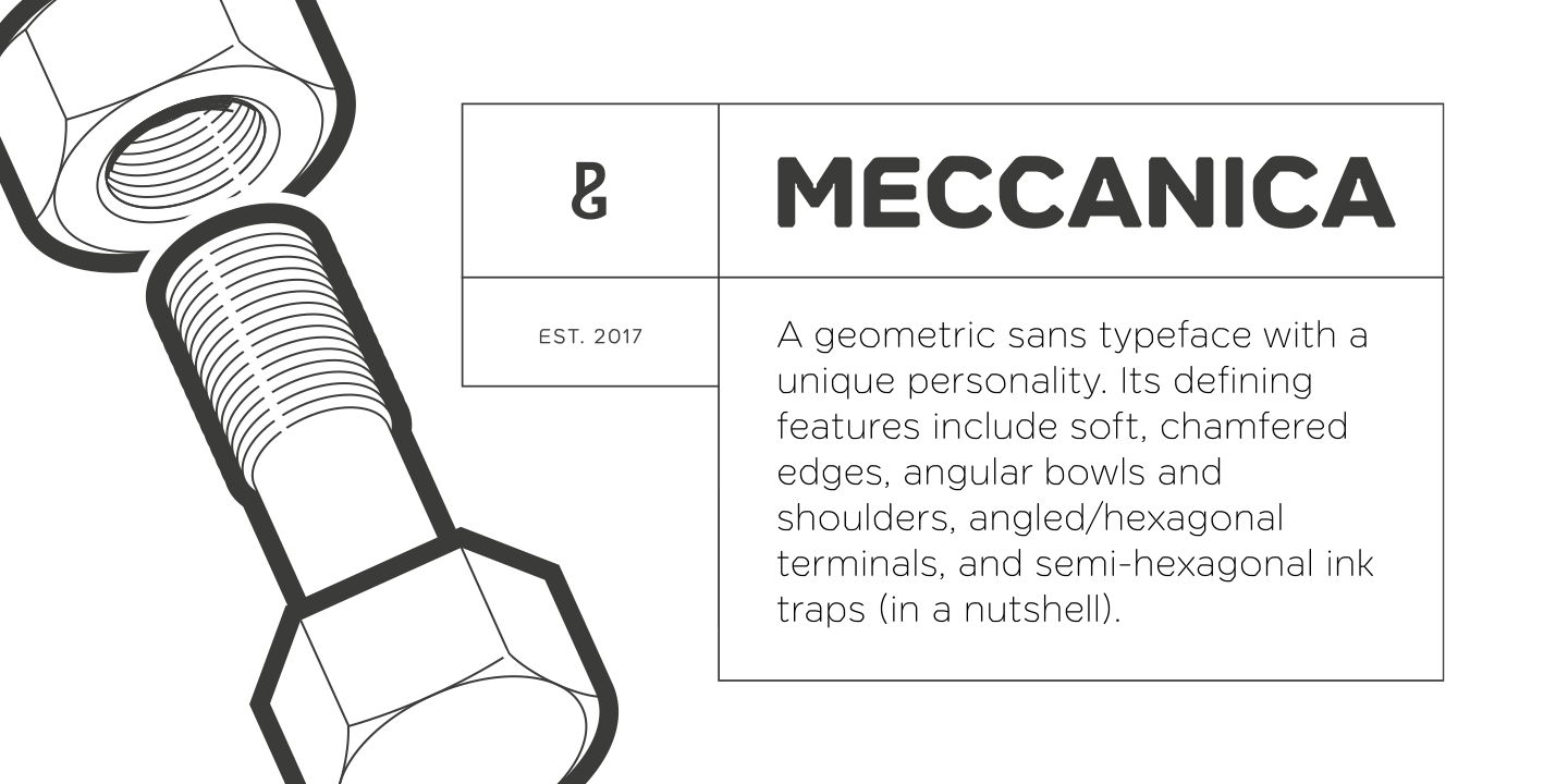 Meccanica sans serif font family by Paulo Goode.