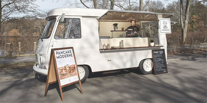 Yannick Pfeiffer in his food truck.