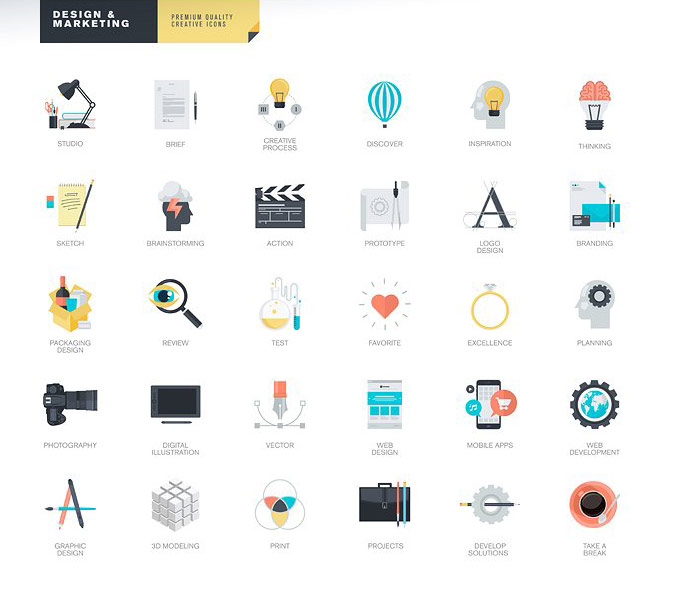Design and Marketing icons.