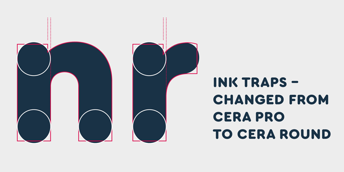 Ink traps changed from Cera Pro to Cera Round.