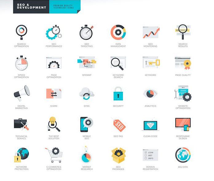 SEO and Development icons.