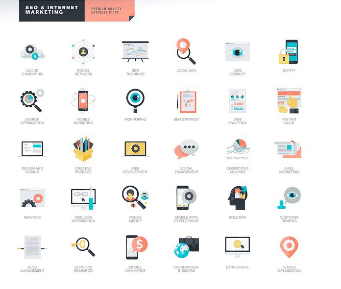 SEO and Internet Marketing icons.