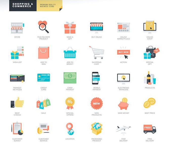 Shopping and Commerce icons.