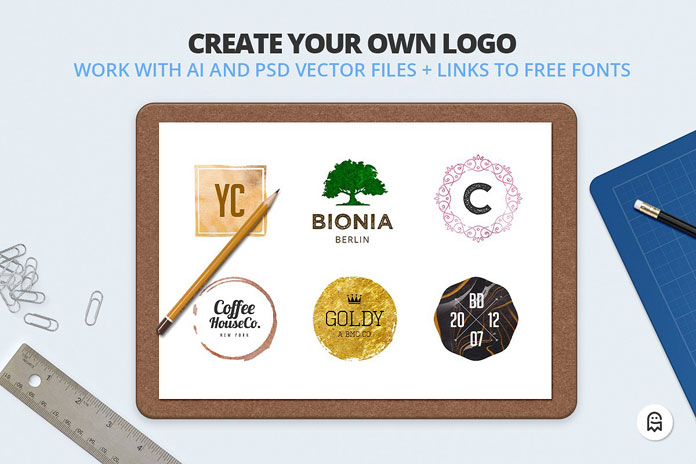 Create your own logo in Adobe Photoshop or Illustrator.