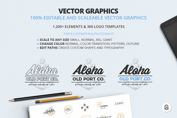 Editable and scalable vector graphics.