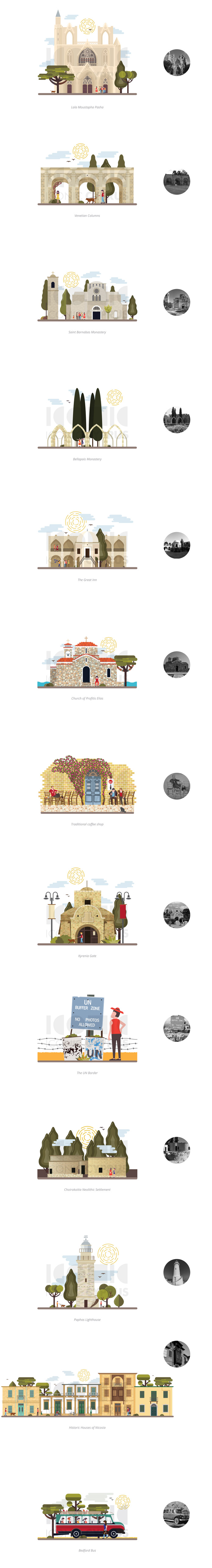 Illustrations of iconic landmarks and tourist attractions in Cyprus.