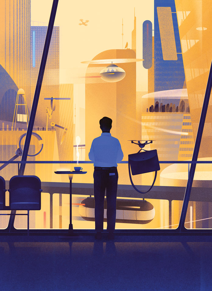 Karolis Strautniekas, Future Cities cover illustration for the special cities section in New York Times - AD Andrew Sondern.