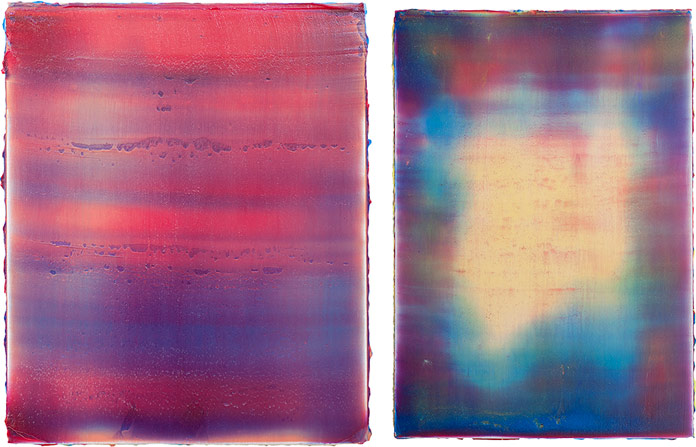 Nejat Sati – left: Nefs 7, 2014 acrylic on canvas, 55x45 cm – right: Nefs 19, 2014, acrylic on canvas, 100x70 cm