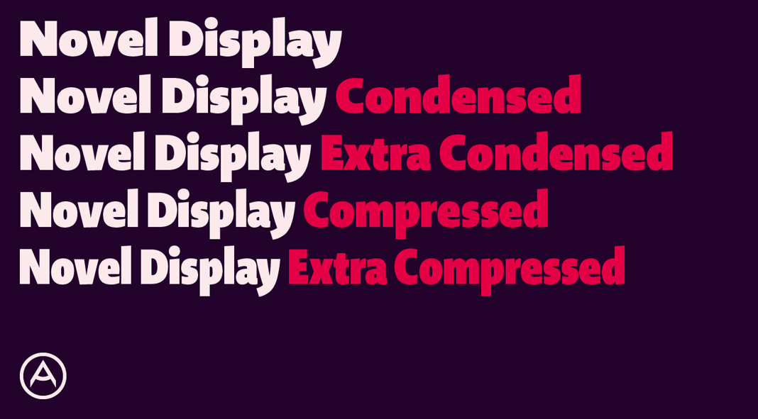 Novel Display font family from Atlas Font Foundry.