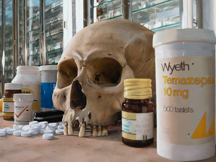 Skull with pills, 2008, Oil on canvas