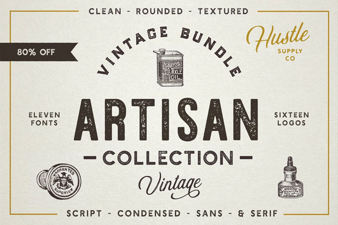 Retro Fonts and Vintage Logos: Artisan Collection