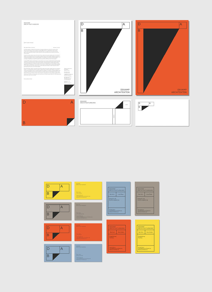 Corporate identity by Bureau Mitte for architecture office Dekamp.
