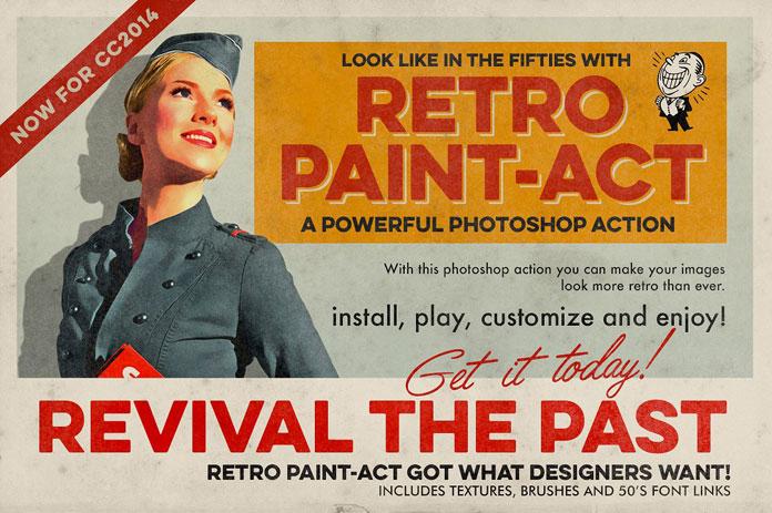 Vintage paint Photoshop actions.