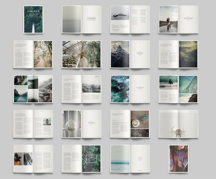 Juniper adobe indesign magazine and portfolio template for Free indesign portfolio templates