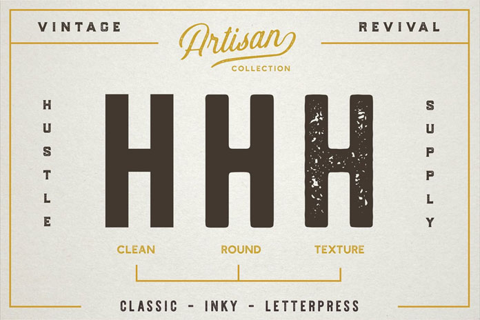Vintage revival with clean, round, and textured versions.