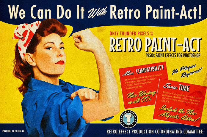 Turn photos in vintage graphics with Retro Paint-Act.