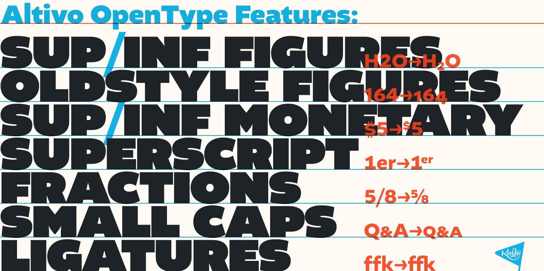Altivo OpenType features.