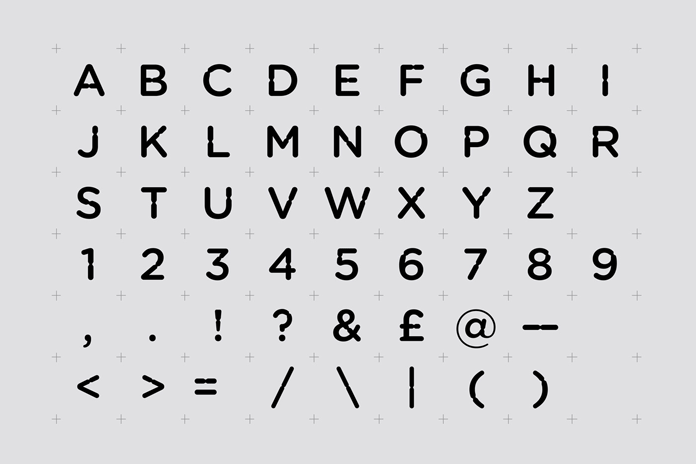 The custom typeface.