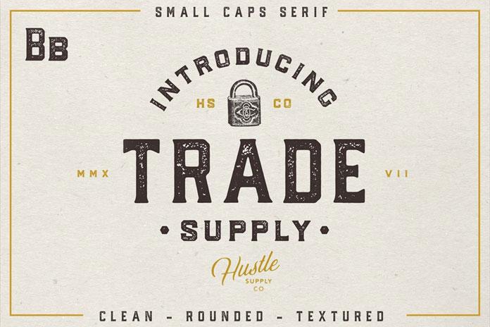 Trade Supply - retro serif typeface.