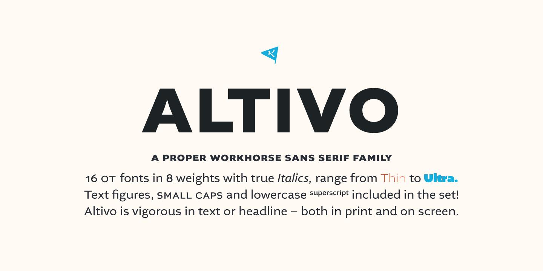 Altivo sans serif font family.