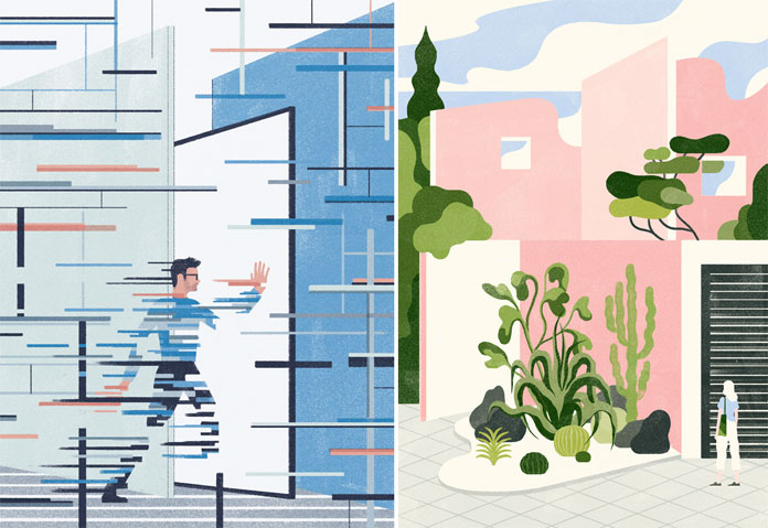 left: illustration for an article by Jérémie Noël for The Networker. right: Novantanove exhibition cured by Illustri at Torino Graphic Days.