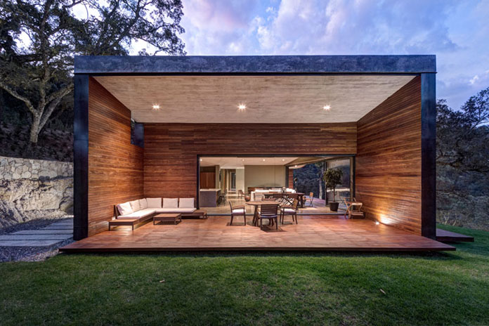 Covered wood patio, GG House by Elías Rizo Arquitectos.