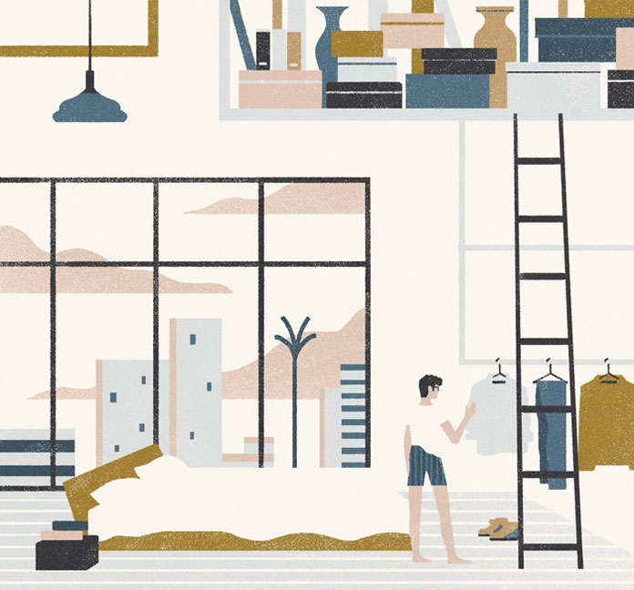 Editorial illustration by Andrea Mongia for the article Approaching life through the lens of less the skinny on minimalism by Suzanne Barnecut.