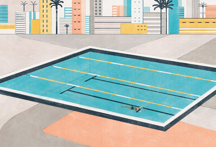 Editorial illustration by Andrea Mongia for the article La profondità nel nuoto by Davide Coppo.