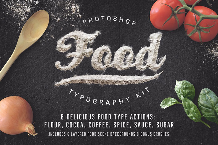 Food typography Adobe Photoshop actions.