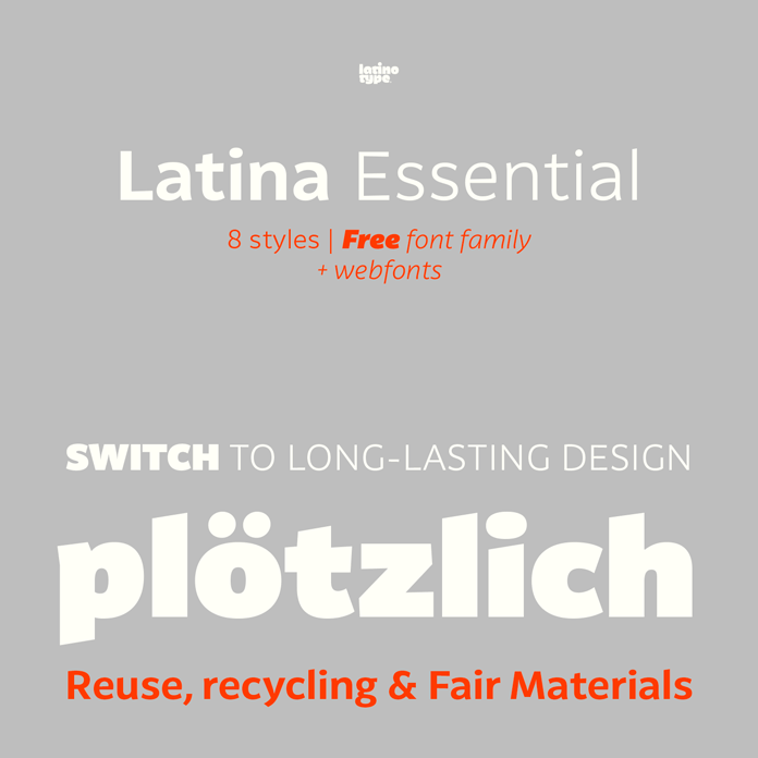 Latina Essential, a free font family from Latinotype.