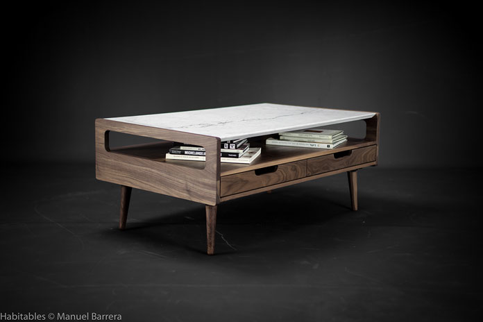 Manuel Barrera aka Habitables, Marble and Walnut coffee table
