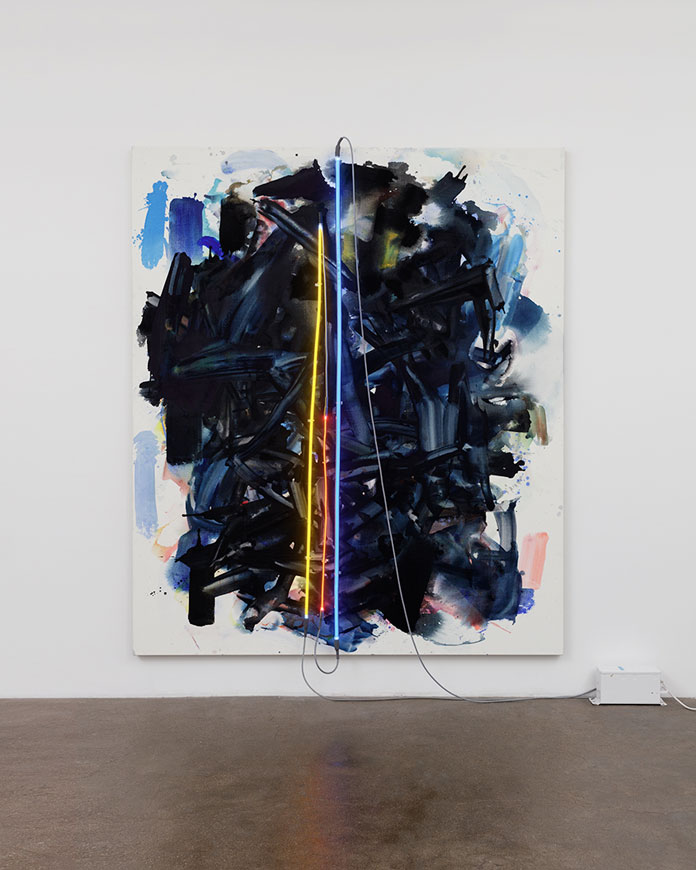Mary Weatherford, Whittier Blvd, 2016, Flashe and neon on linen, 93 x 79 x 1 12 inches (236.2 x 200.7 x 3.8 cm).