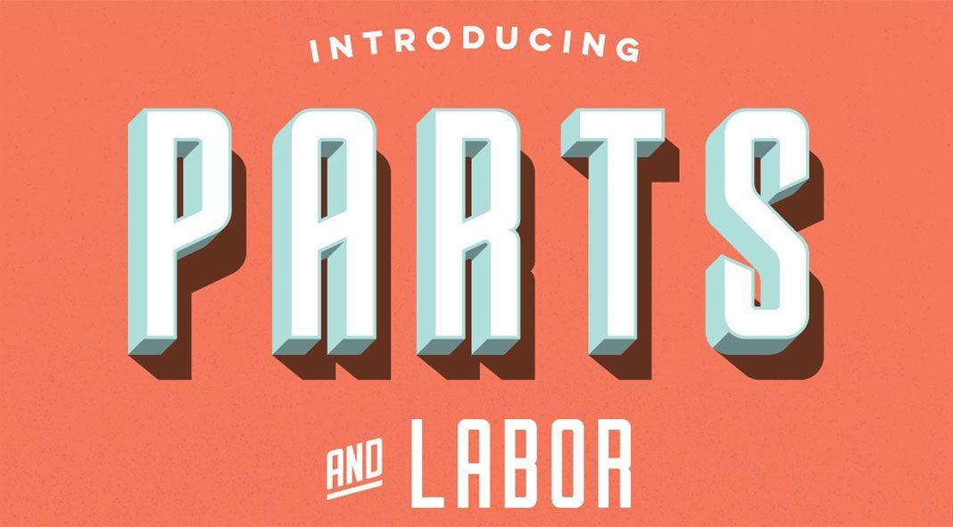 Parts & Labor - layered font by Joe Andrus.