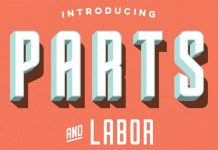 Parts & Labor - layered font by Joe Andrus.