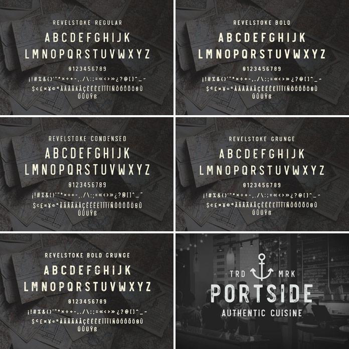 Revelstoke font family, 5 styles.