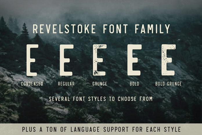 Revelstoke font family, Support for multiple languages in each style.