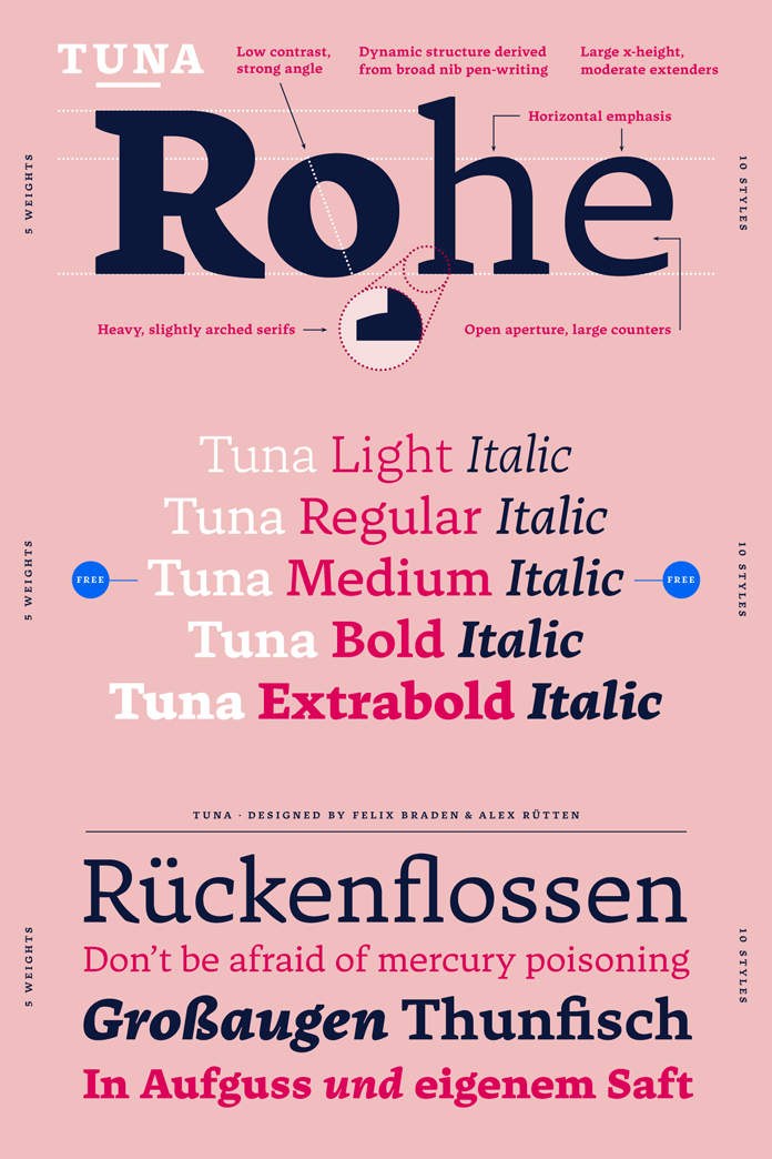 Tuna serif font family from Ligature Inc.