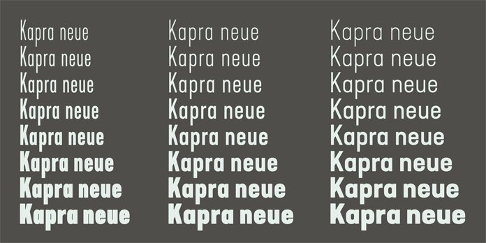 Kapra Neue, Numerous widths and weights.