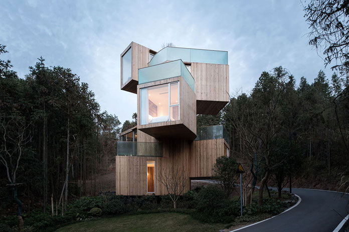 Qiyunshan Tree House by Bengo Studio, Stacked timber volumes.