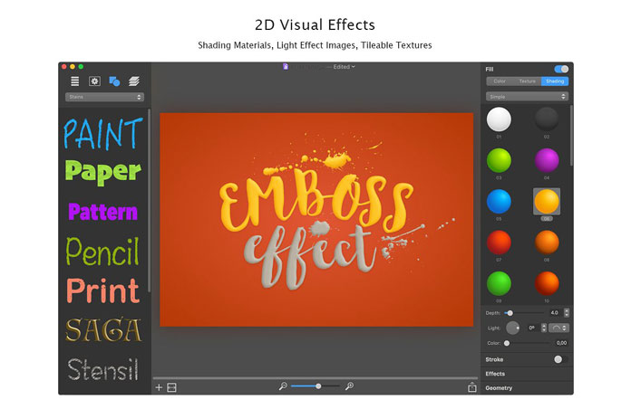 2D visual effects.
