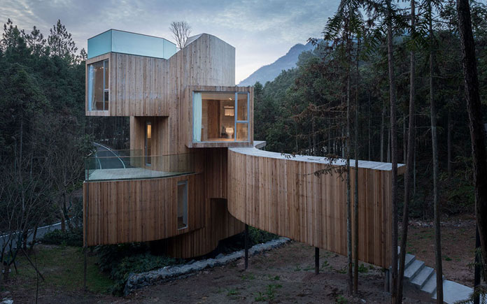 Qiyunshan Tree House by Bengo Studio, Tree house hotel.