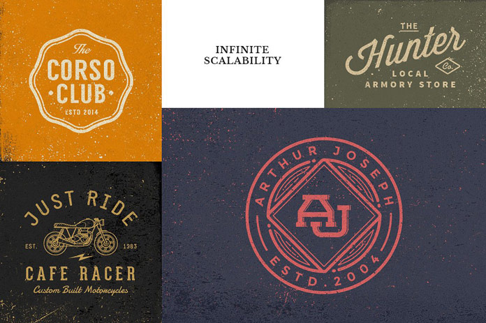 Create stylish logos, logotypes, and vintage badges.