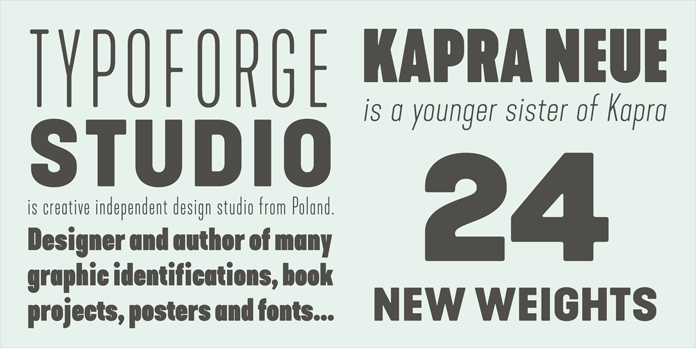 Kapra Neue, Type samples.