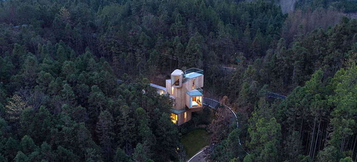 Qiyunshan Tree House by Bengo Studio, Located in Huangshan, China.