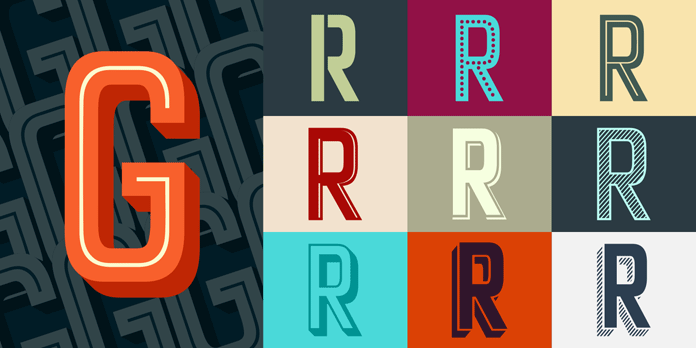 Art Deco inspired display layered font collection.