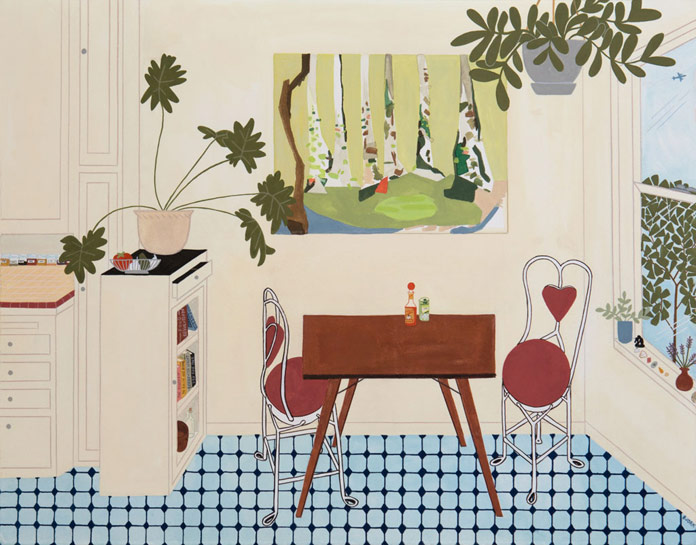 Kelly Bjork, Table for Two, gouache and pencil on paper, 19 x 15 inches, 2016
