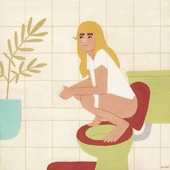 Kelly Bjork, Working on my poop-stance, gouache on paper, 6 x 6 inches, 2015