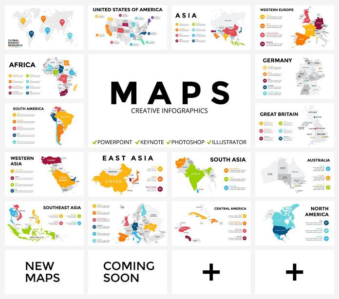 Maps infographic templates.
