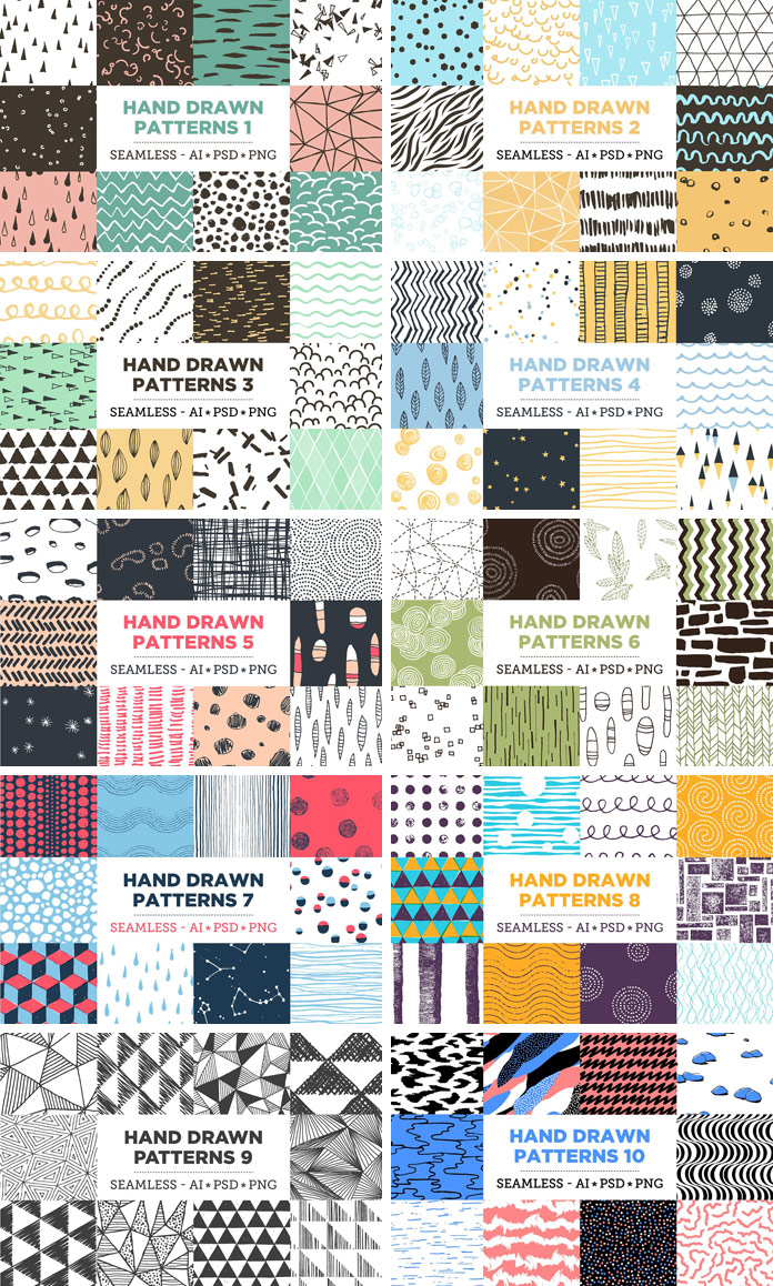 100 Seamless Hand Drawn Patterns for Adobe Illustrator and Photoshop